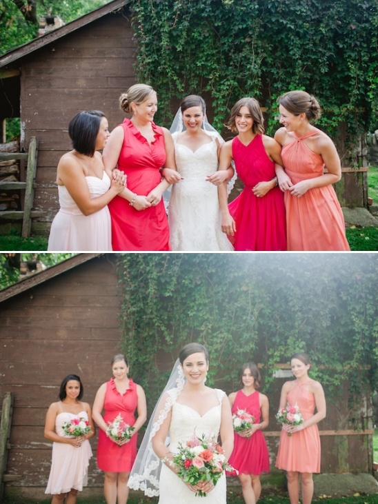 peach pink and coral bridesmaids dresses