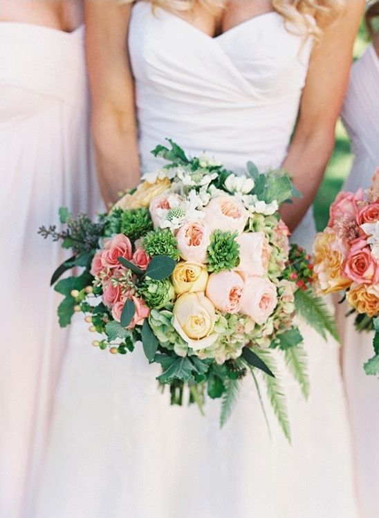 pink yellow and green wedding bouquet