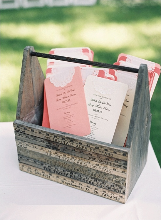 pink and white wedding programs