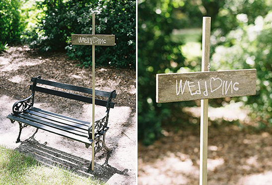 cute wedding bench and sign