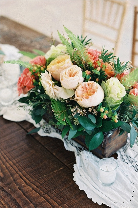 beautiful ranunculus floral box centerpiece