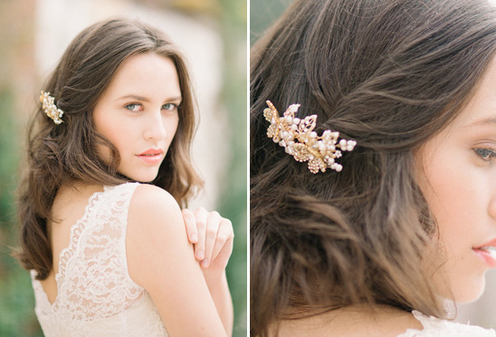 gold floral headcomb from Tessa Kim
