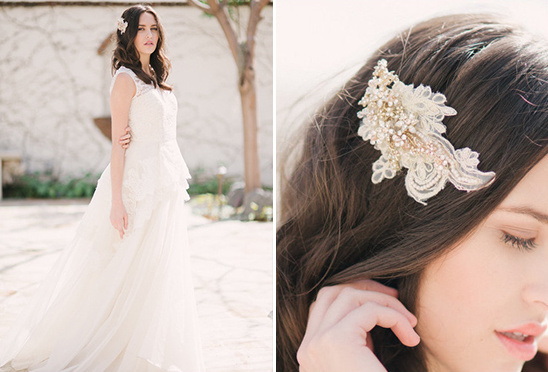 Tessa Kim Gold Lace Headpiece