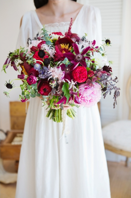 big and beautiful dark red and pink wedding bouquet