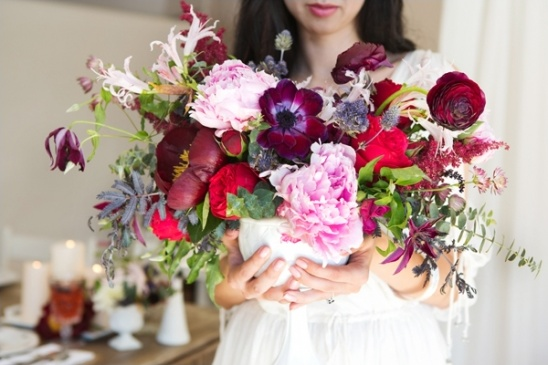 dark red and pink floral centerpiece