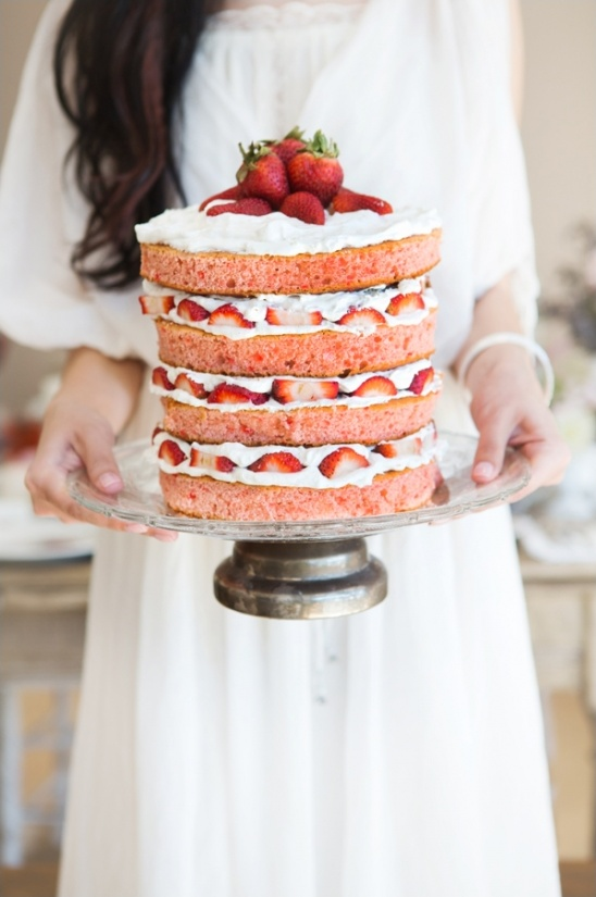strawberry shortcake naked wedding cake