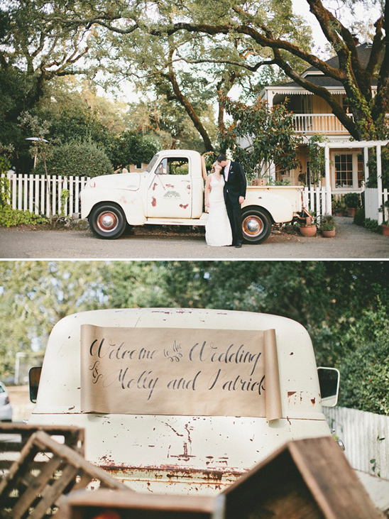 vintage getaway truck with wedding sign