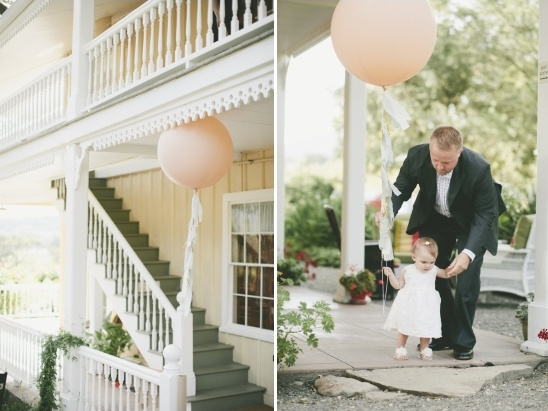 flower girl with giant balloon