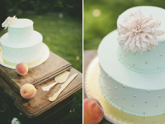 mint and gold polka dot cake details