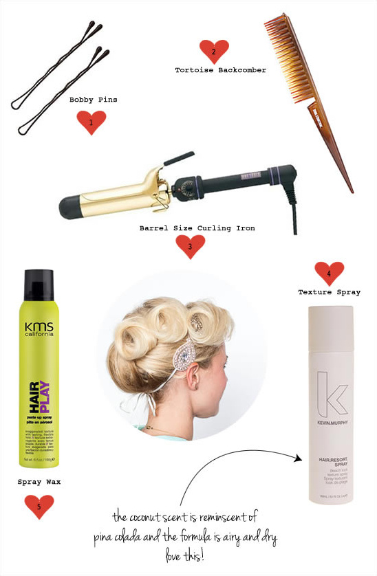 supplies for an updo
