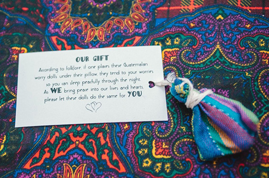Guatemalan worry doll wedding favors
