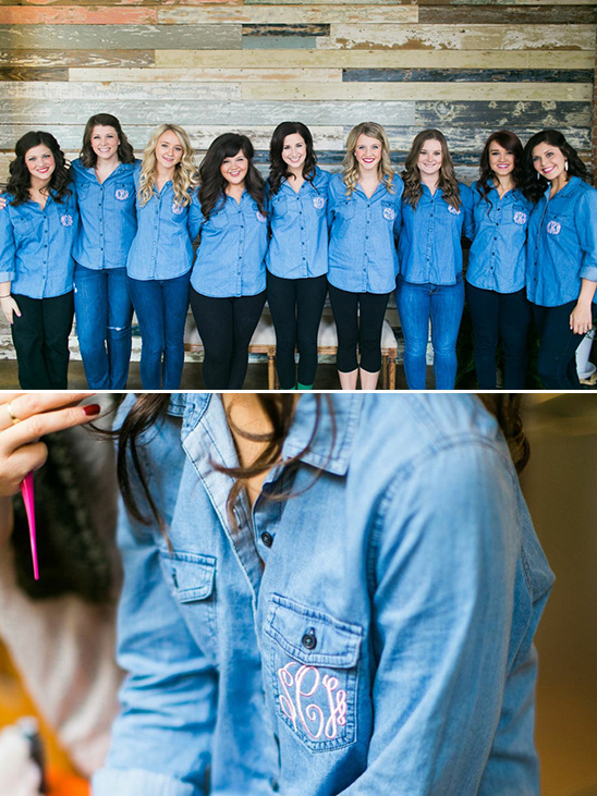 getting ready bridesmaids jean shirts