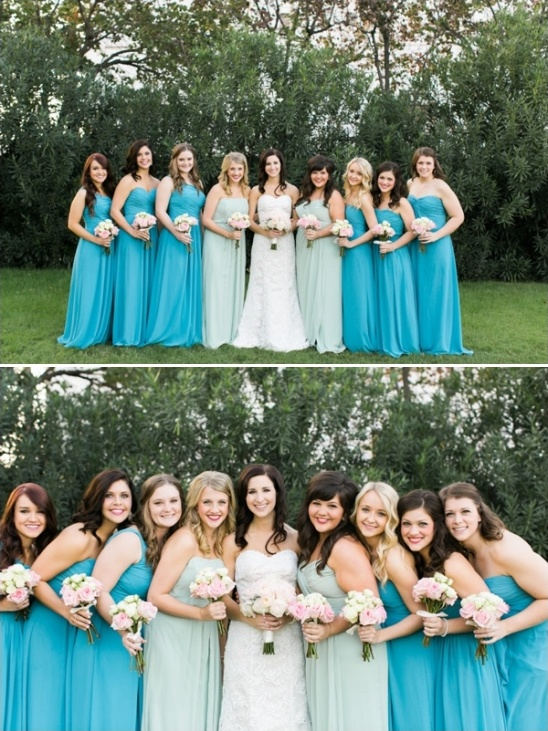 mint and blue bridesmaids dresses