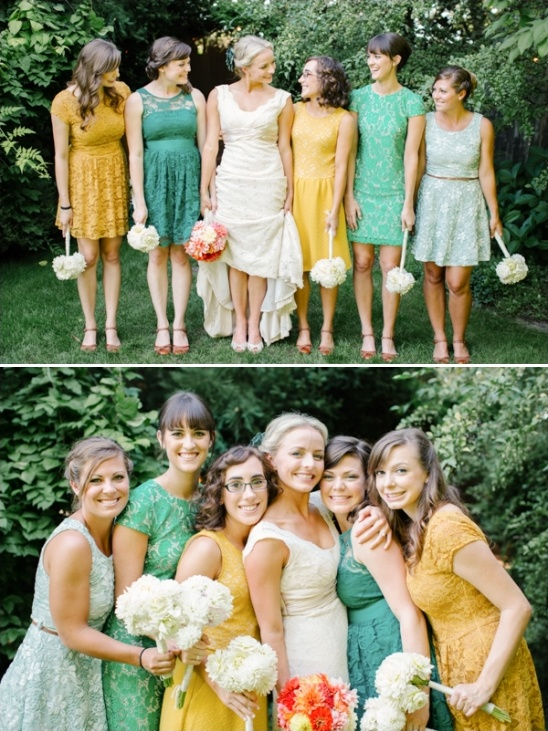 assorted yellow and green bridesmaids