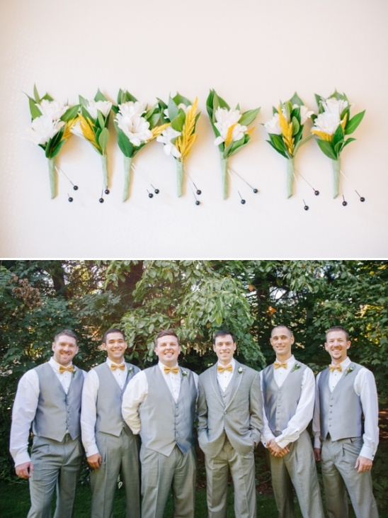 yellow bow tie groomsmen in grey suits