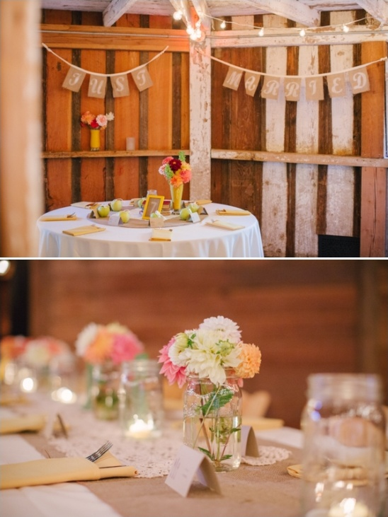 lace burlap and mason jar barn decor