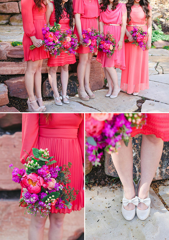 Bright Pink And Purple Bridesmaids