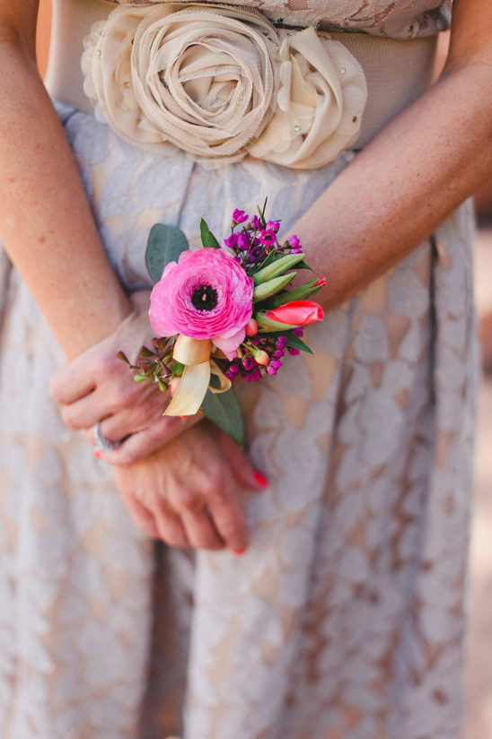 pink corsage for the mother of the bride