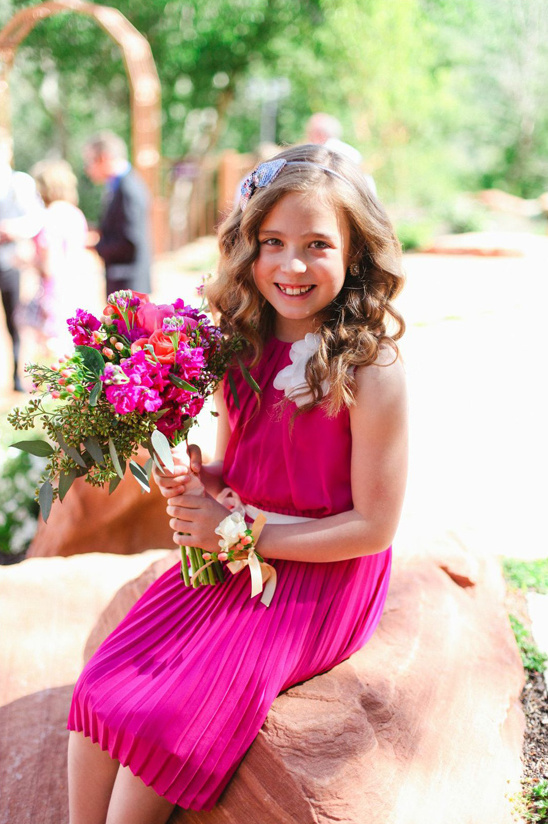 pink flower girl dress and bouquet