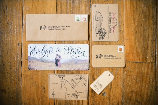 super cute rustic script wedding invites