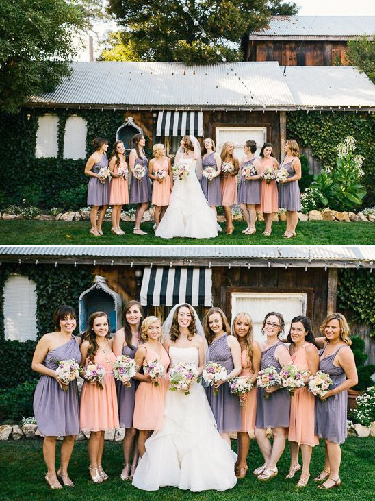 purple and peach bridesmaids dresses