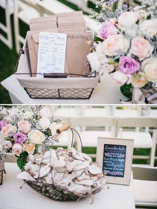 wedding program and lavender satchels