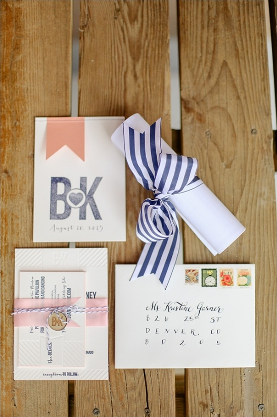 pink and navy wedding stationery designed by the bride