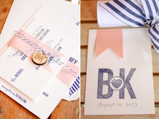 pink and navy wedding stationery