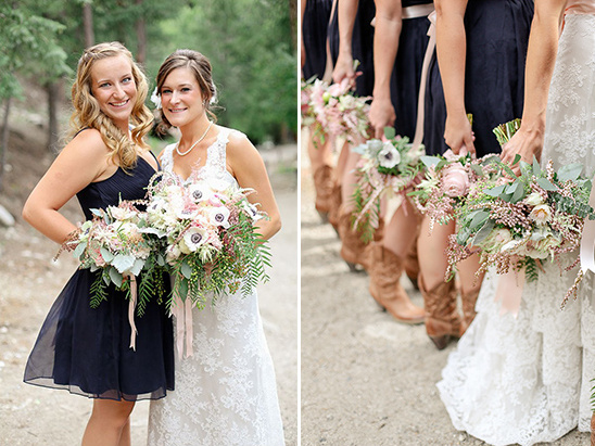 pink and cream bridesmaid bouquets