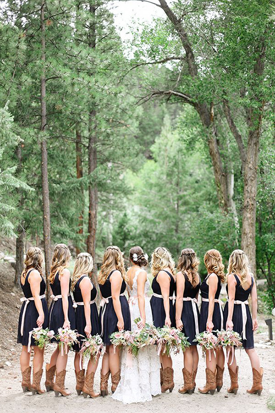 navy blue bridesmaid dresses with pink ribbons
