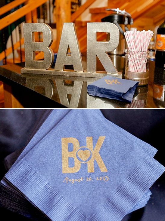 bar sign and cusotm napkins