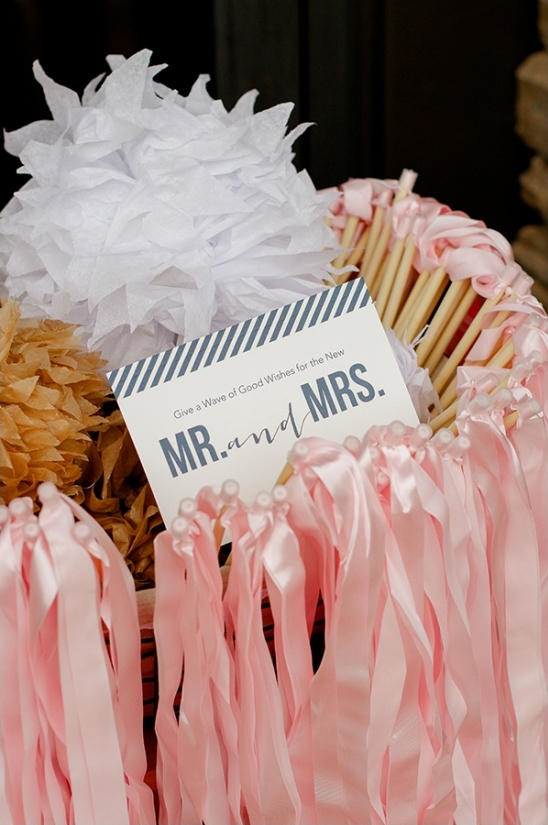pink ribbons for wedding send off