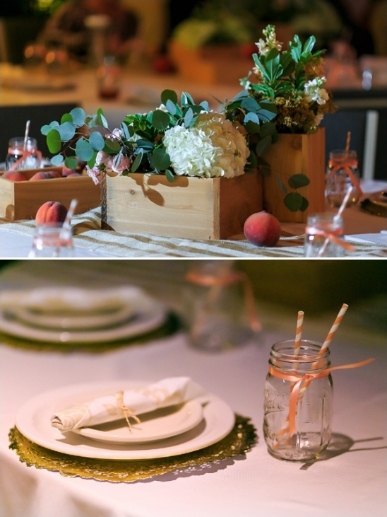 peach themed place settings