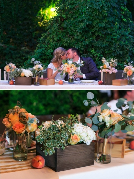 peach and white floral box centerpieces