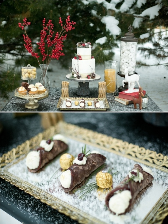chocolate cannolis and assorted desserts by One Sweet Slice