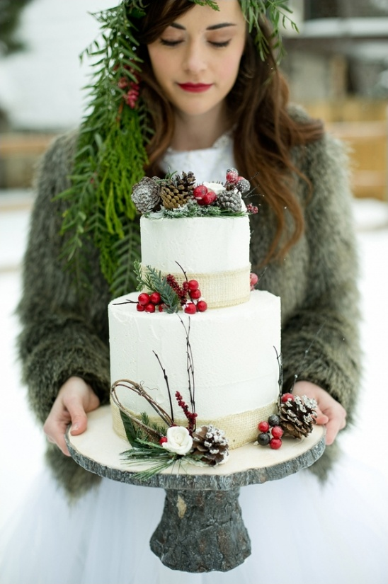 wintery wedding cake by Once Upon a Cake Co