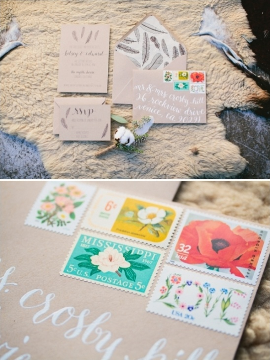 feather wedding stationery with vintage stamps