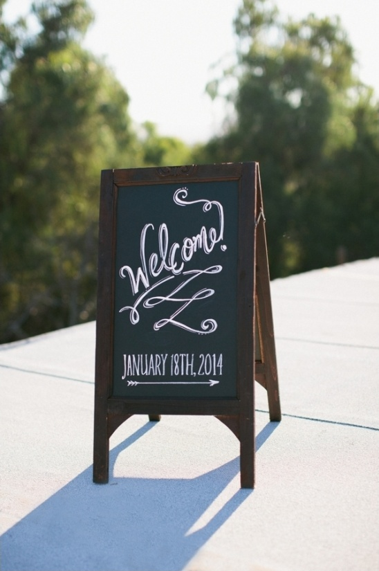 chalkboard wedding welcome sign for rooftop wedding