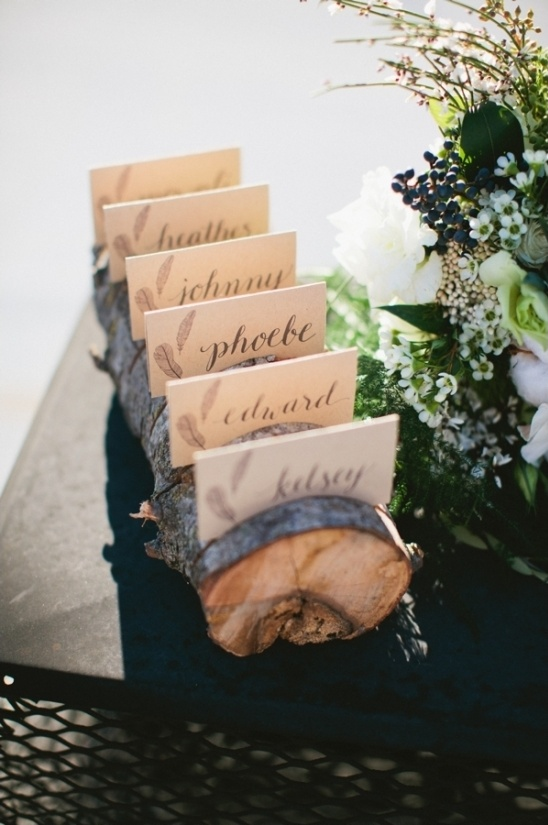 wooden log escort card display