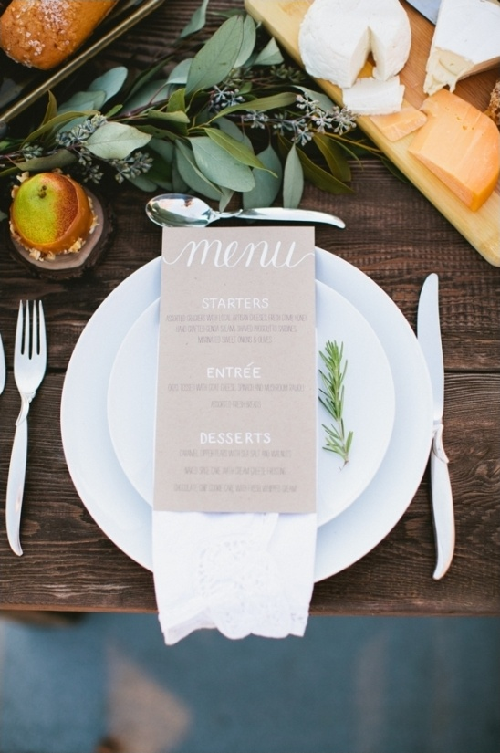 simple yet stylish wedding menu