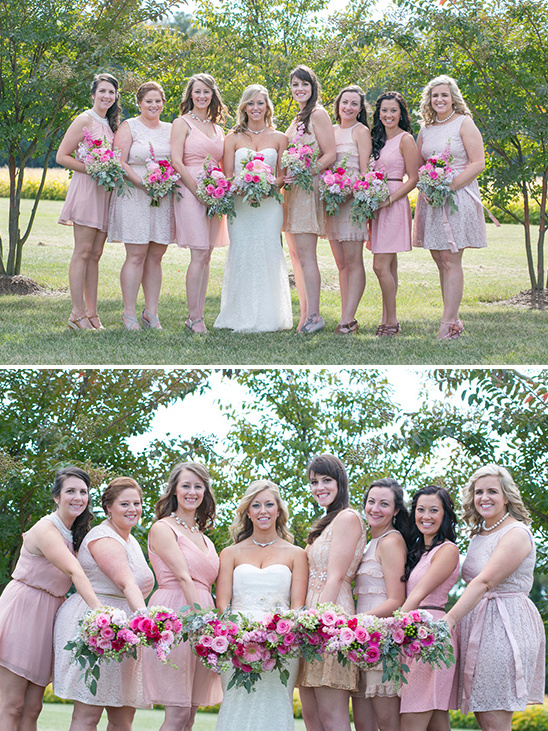 bridesmaids in shades of pink dresses