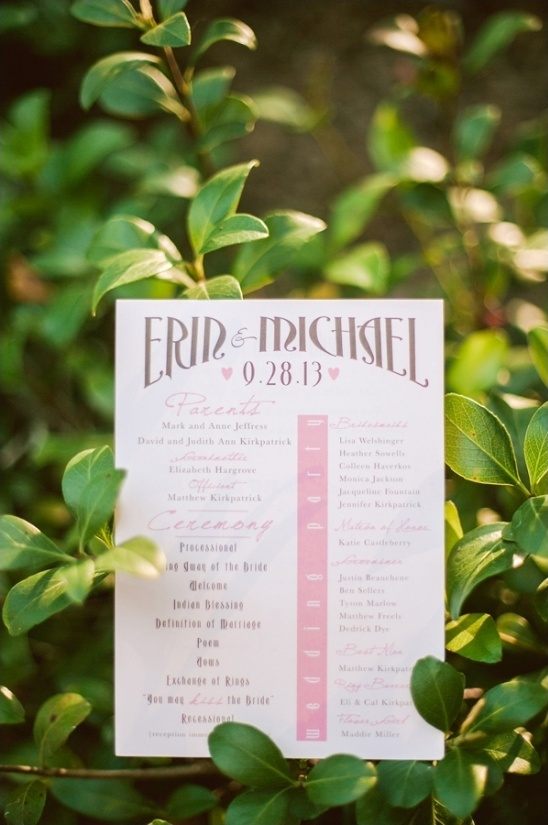 pink wedding program