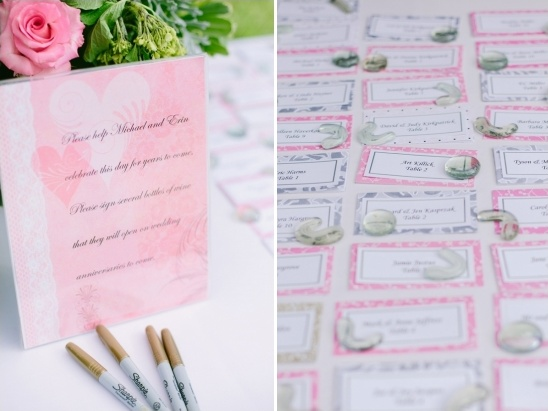 wine bottle guestbook and escort cards