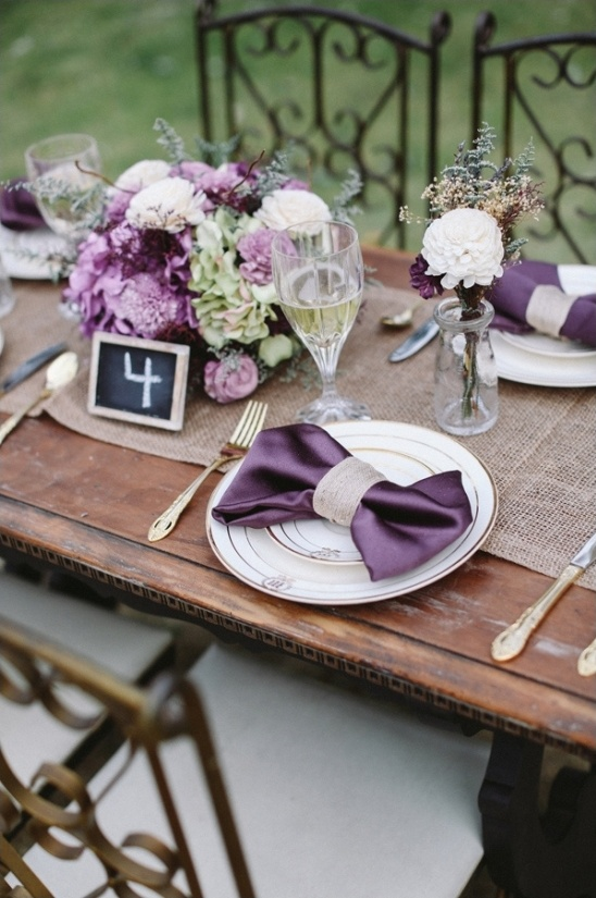 royal purple table setting