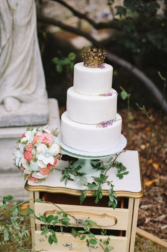 crown topped wedding cake