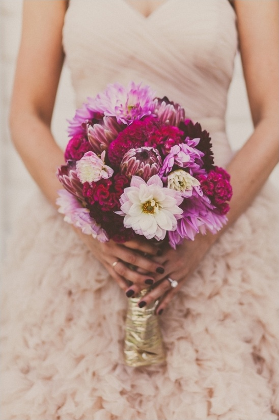 DIY bridal bouquet in purples and pinks