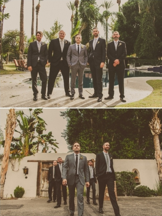 grey suit black tie groom with black suit grey tie groomsmen