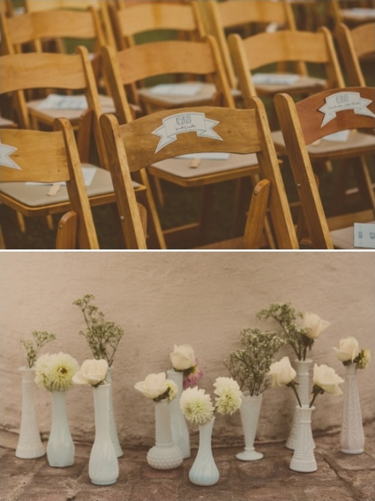 fun reserved seat signs and milk glass ceremony centerpieces