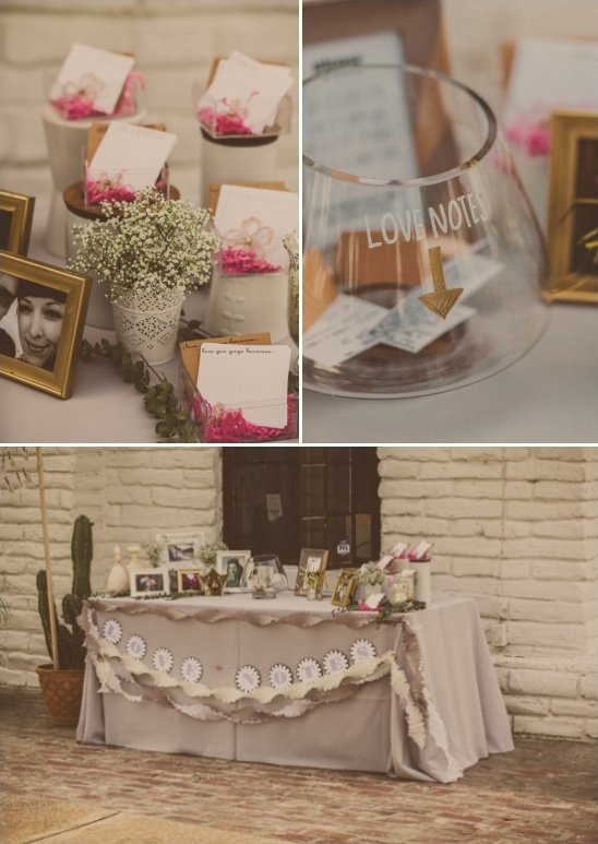 guestbook and love notes table