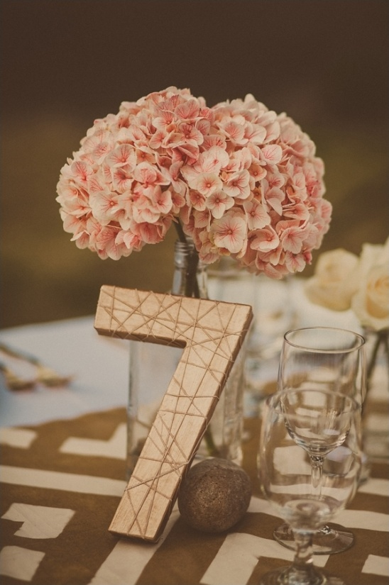 bronze painted DIY table number